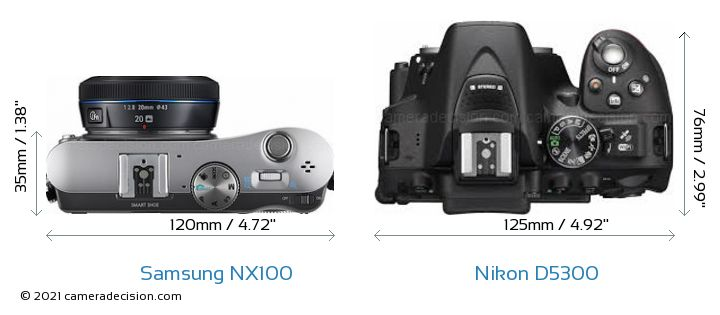 Samsung NX100 vs Nikon D5300 Camera Size Comparison - Top View