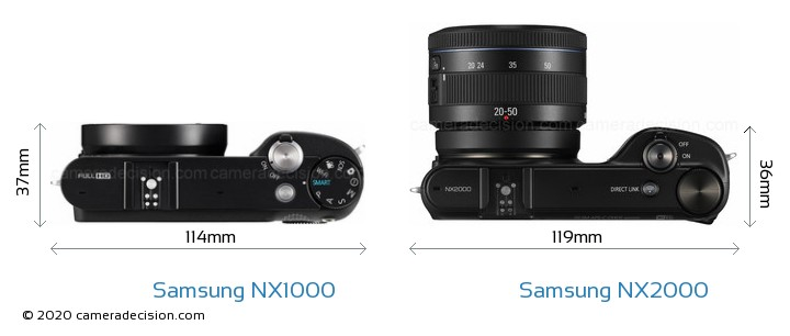 Samsung NX1000 vs Samsung NX2000 Camera Size Comparison - Top View