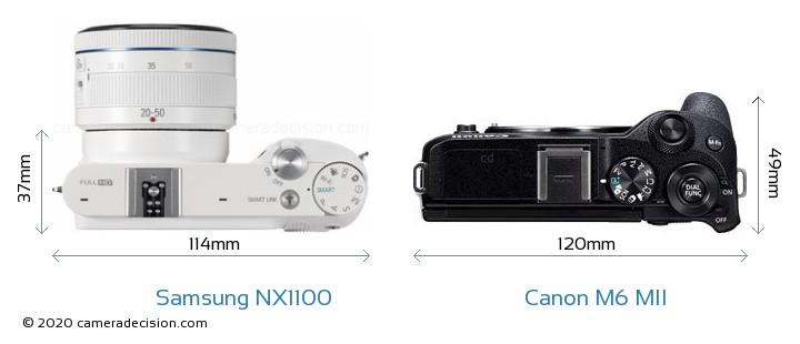 Samsung NX1100 vs Canon M6 MII Camera Size Comparison - Top View