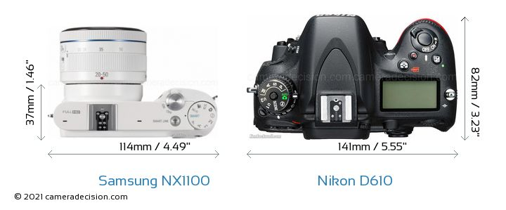 Samsung NX1100 vs Nikon D610 Camera Size Comparison - Top View