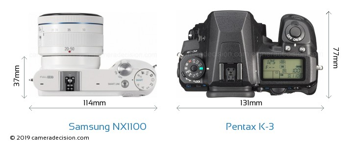Samsung NX1100 vs Pentax K-3 Camera Size Comparison - Top View