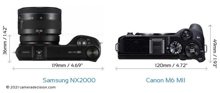 Samsung NX2000 vs Canon M6 MII Camera Size Comparison - Top View