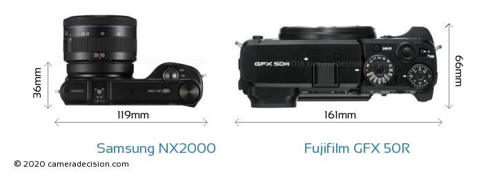 Samsung NX2000 vs Fujifilm GFX 50R Camera Size Comparison - Top View