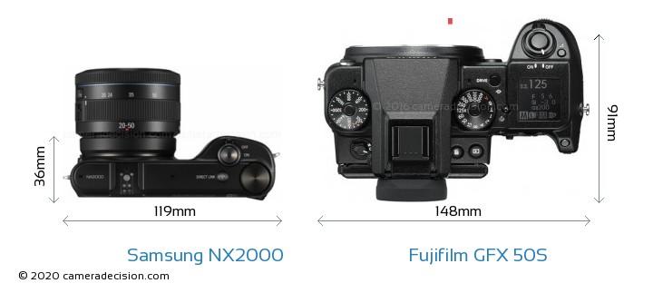 Samsung NX2000 vs Fujifilm GFX 50S Camera Size Comparison - Top View