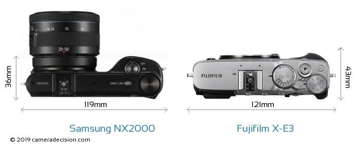 Samsung NX2000 vs Fujifilm X-E3 Camera Size Comparison - Top View