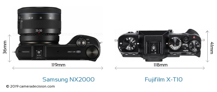 Samsung NX2000 vs Fujifilm X-T10 Camera Size Comparison - Top View