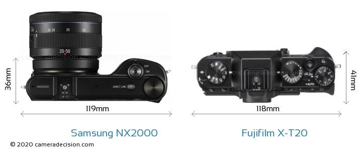 Samsung NX2000 vs Fujifilm X-T20 Camera Size Comparison - Top View