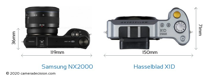 Samsung NX2000 vs Hasselblad X1D Camera Size Comparison - Top View