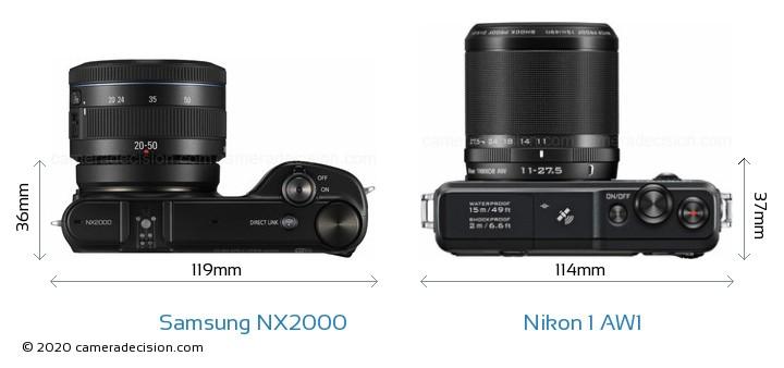 Samsung NX2000 vs Nikon 1 AW1 Camera Size Comparison - Top View