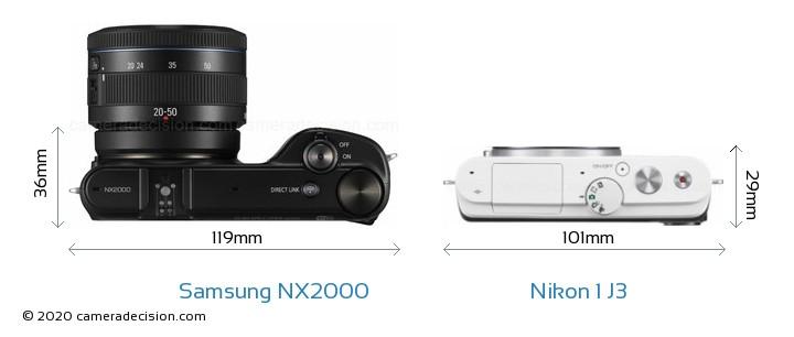 Samsung NX2000 vs Nikon 1 J3 Camera Size Comparison - Top View