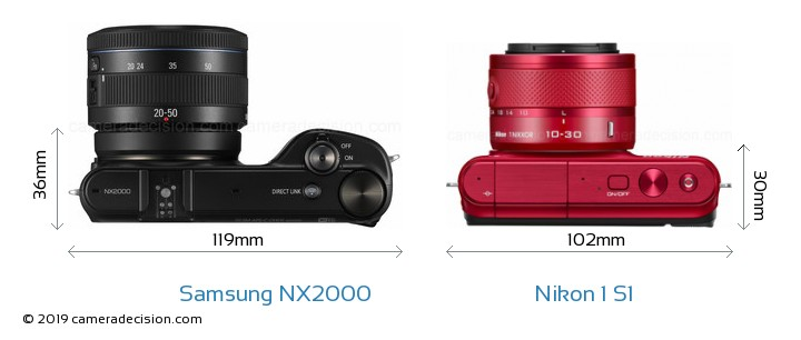 Samsung NX2000 vs Nikon 1 S1 Camera Size Comparison - Top View