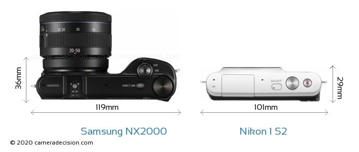 Samsung NX2000 vs Nikon 1 S2 Camera Size Comparison - Top View
