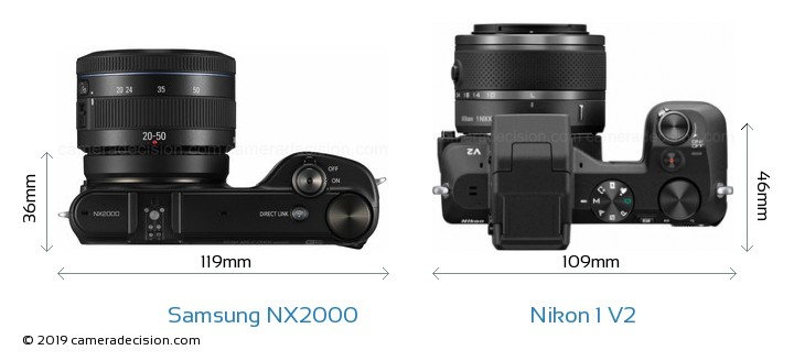 Samsung NX2000 vs Nikon 1 V2 Camera Size Comparison - Top View