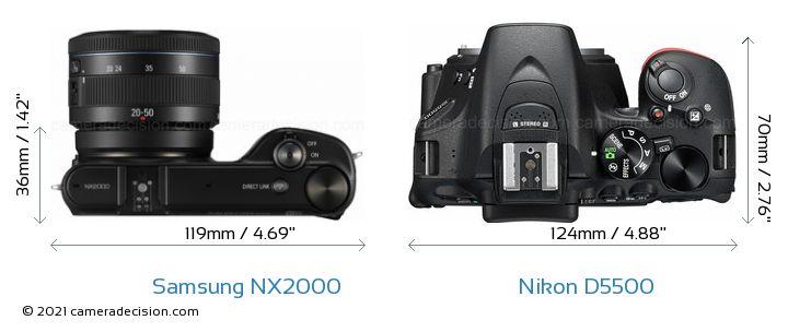 Samsung NX2000 vs Nikon D5500 Camera Size Comparison - Top View