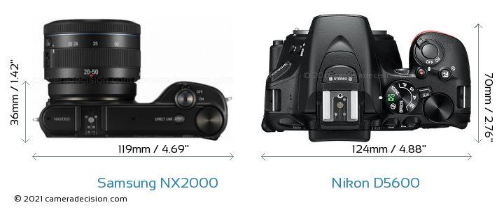 Samsung NX2000 vs Nikon D5600 Camera Size Comparison - Top View