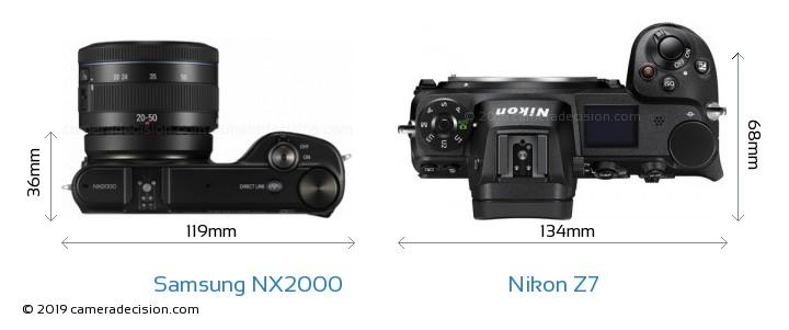 Samsung NX2000 vs Nikon Z7 Camera Size Comparison - Top View