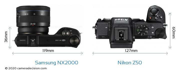 Samsung NX2000 vs Nikon Z50 Camera Size Comparison - Top View