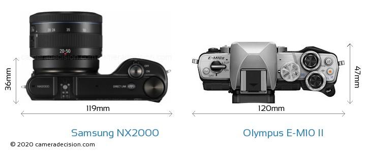 Samsung NX2000 vs Olympus E-M10 II Camera Size Comparison - Top View