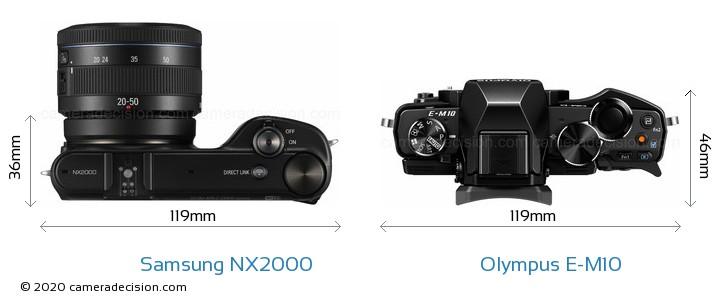 Samsung NX2000 vs Olympus E-M10 Camera Size Comparison - Top View
