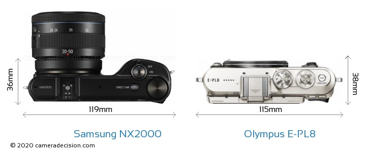 Samsung NX2000 vs Olympus E-PL8 Camera Size Comparison - Top View