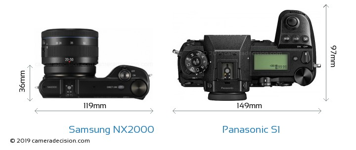 Samsung NX2000 vs Panasonic S1 Camera Size Comparison - Top View