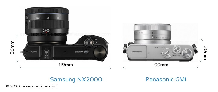 Samsung NX2000 vs Panasonic GM1 Camera Size Comparison - Top View