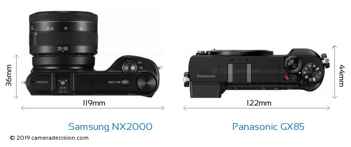 Samsung NX2000 vs Panasonic GX85 Camera Size Comparison - Top View
