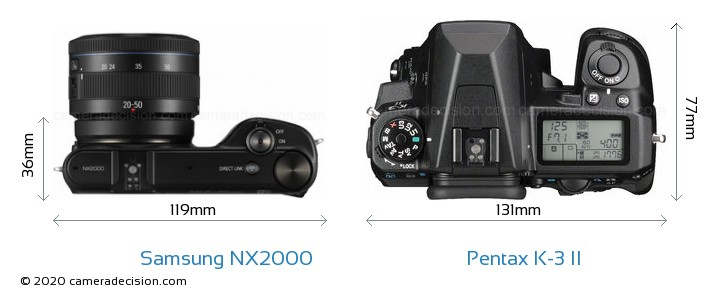 Samsung NX2000 vs Pentax K-3 II Camera Size Comparison - Top View