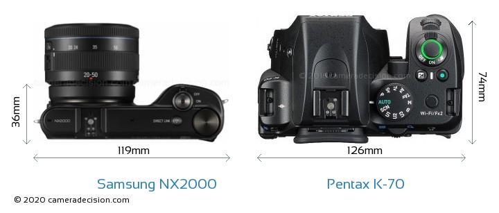 Samsung NX2000 vs Pentax K-70 Camera Size Comparison - Top View