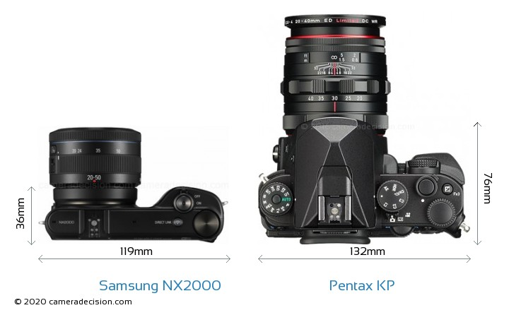 Samsung NX2000 vs Pentax KP Camera Size Comparison - Top View