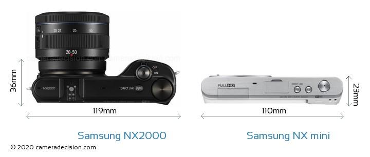 Samsung NX2000 vs Samsung NX mini Camera Size Comparison - Top View