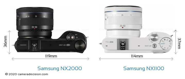 Samsung NX2000 vs Samsung NX1100 Camera Size Comparison - Top View