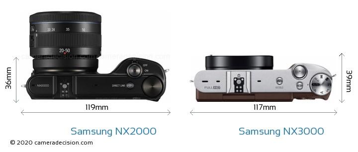 Samsung NX2000 vs Samsung NX3000 Camera Size Comparison - Top View