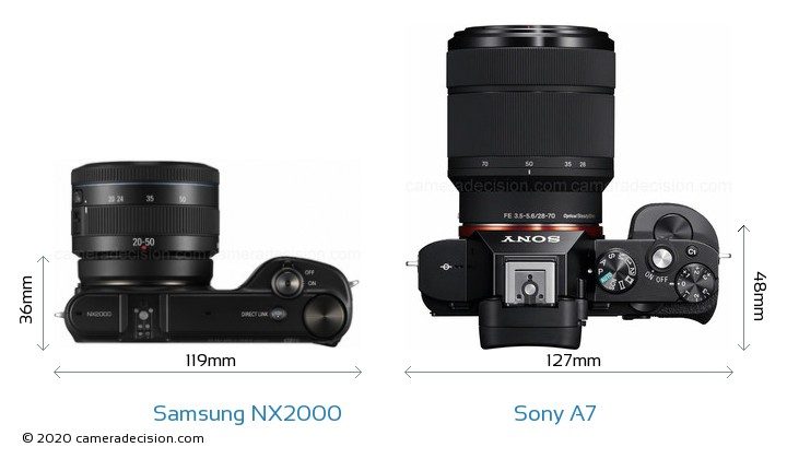 Samsung NX2000 vs Sony A7 Camera Size Comparison - Top View