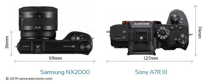 Samsung NX2000 vs Sony A7R III Camera Size Comparison - Top View