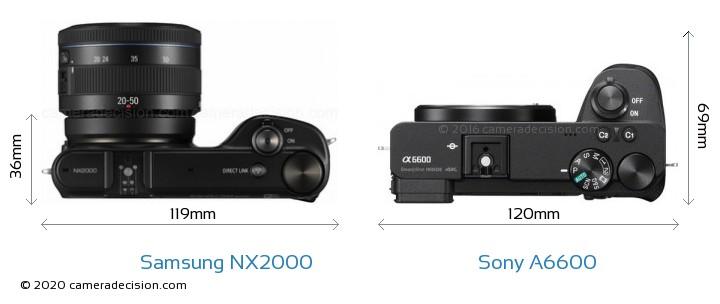 Samsung NX2000 vs Sony A6600 Camera Size Comparison - Top View