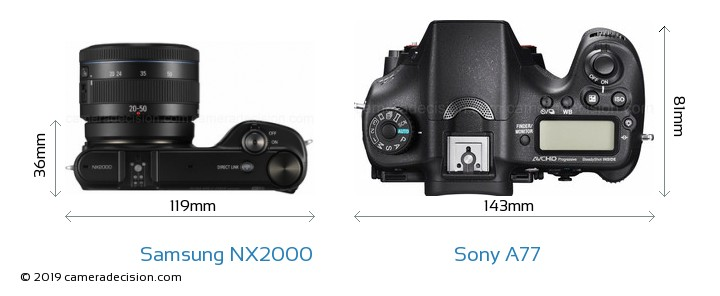 Samsung NX2000 vs Sony A77 Camera Size Comparison - Top View