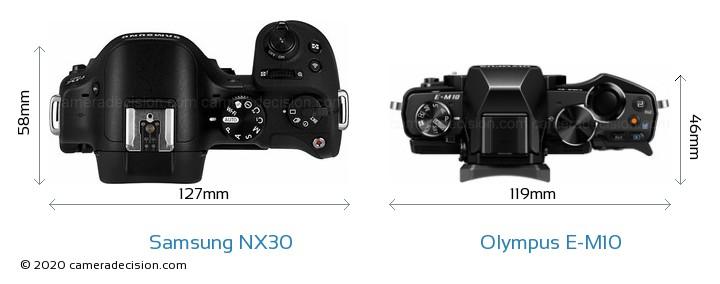 Samsung NX30 vs Olympus E-M10 Camera Size Comparison - Top View