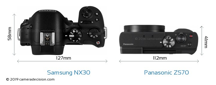 Samsung NX30 vs Panasonic ZS70 Camera Size Comparison - Top View