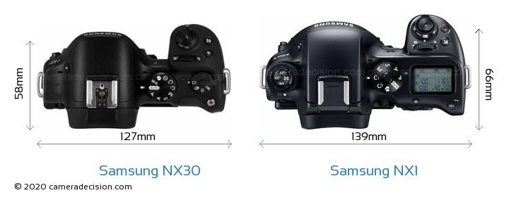 Samsung NX30 vs Samsung NX1 Camera Size Comparison - Top View