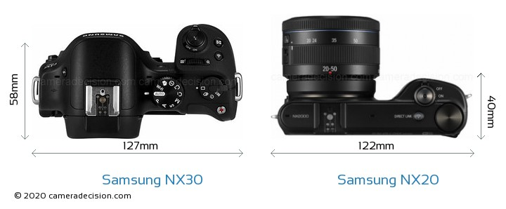 Samsung NX30 vs Samsung NX20 Camera Size Comparison - Top View