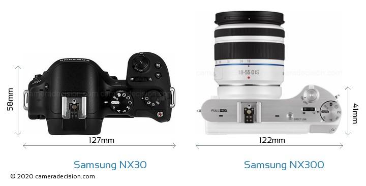 Samsung NX30 vs Samsung NX300 Camera Size Comparison - Top View