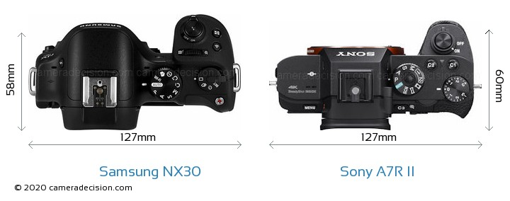 Samsung NX30 vs Sony A7R II Camera Size Comparison - Top View
