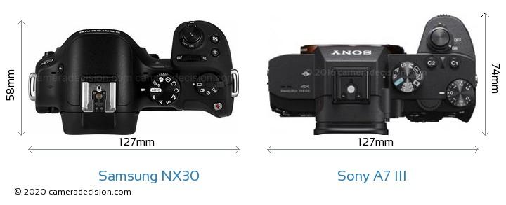 Samsung NX30 vs Sony A7 III Camera Size Comparison - Top View