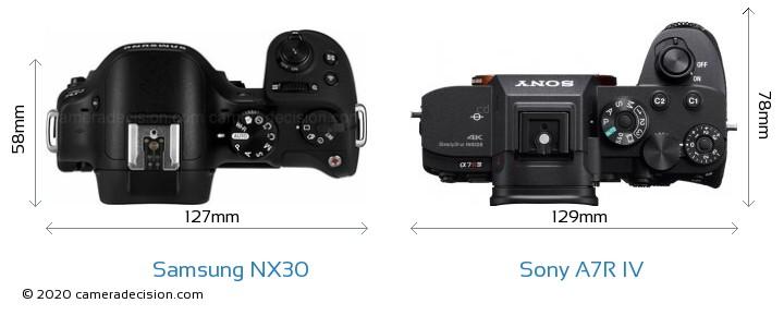 Samsung NX30 vs Sony A7R IV Camera Size Comparison - Top View