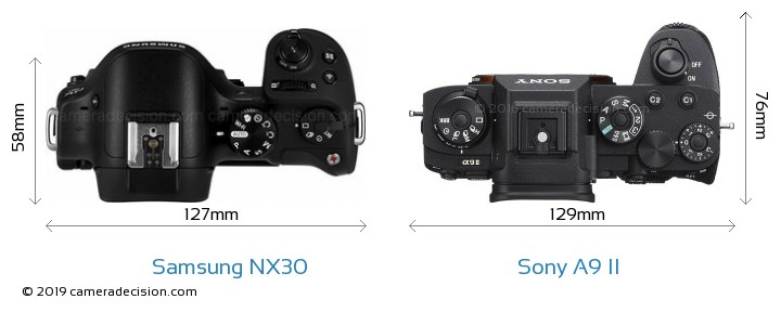 Samsung NX30 vs Sony A9 II Camera Size Comparison - Top View