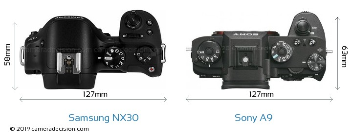 Samsung NX30 vs Sony A9 Camera Size Comparison - Top View
