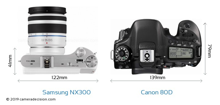 Samsung NX300 vs Canon 80D Camera Size Comparison - Top View