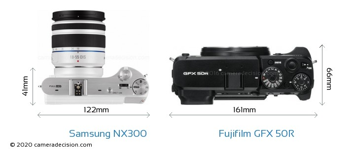 Samsung NX300 vs Fujifilm GFX 50R Camera Size Comparison - Top View
