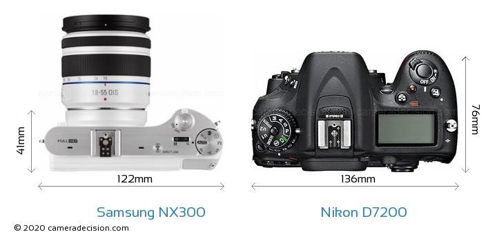 Samsung NX300 vs Nikon D7200 Camera Size Comparison - Top View